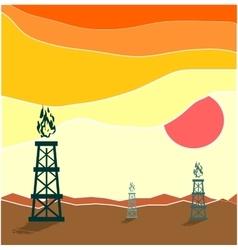 Gas rig in waste landscape vector image