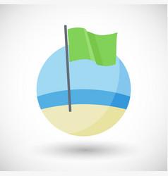 Green beach flag flat icon vector