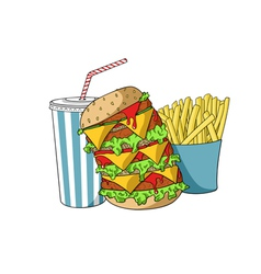 Hamburger with soda and french fries vector