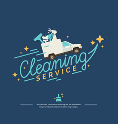 Logo for a cleaning service with car vector