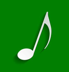 Music note sign paper whitish icon with vector
