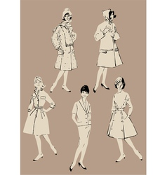 retro girl set 380 vector image