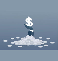 rich business man hand hold dollar money finance vector image vector image