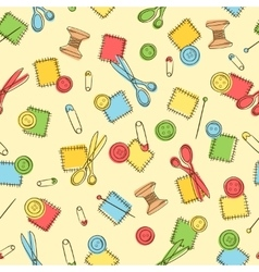 Seamless pattern with sewing button pin patch vector image