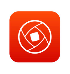 Semi-closed lens icon digital red vector