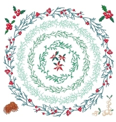 Set of different Christmas wreathes vector image vector image