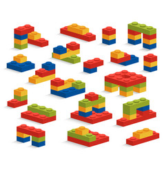 Set of different plastic pieces or constructor vector
