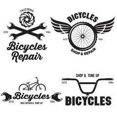 Set of vintage and modern bike shop logo badges vector