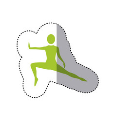 Sticker green silhouette woman stretching leg side vector