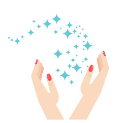 woman hands and brilliance star vector image