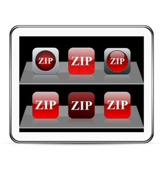 ZIP red app icons vector image