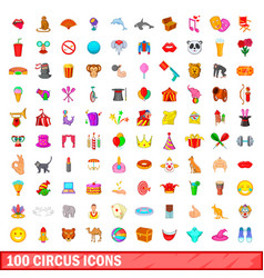 100 circus icons set cartoon style vector