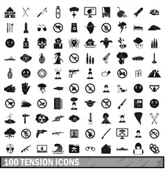 100 tension icons set simple style vector