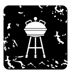 Kettle barbecue grill icon grunge style vector