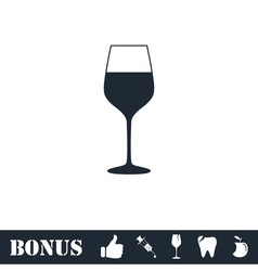 Wineglass icon flat vector