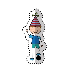 Cute boy character with party hat vector