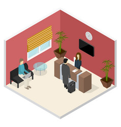 Interior office or hotel reception isometric view vector