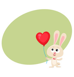Cute and funny rabbit bunny holding red heart vector