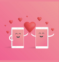 smartphone love valentines day concept cute vector image