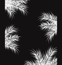 Tropical design with white palm leaves and plants vector