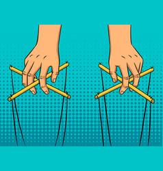 puppeteer hands pop art style vector image