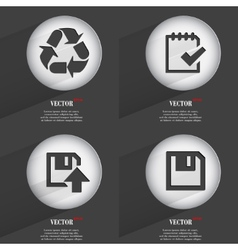 Set of trendy buttons icons with long shadow vector