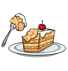 A slice of cake vector
