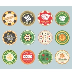 Poker retro labels set vector
