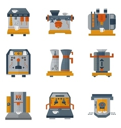 Coffee machines flat color icons vector