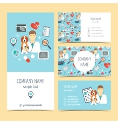 Set of flyer brochure and business cards for vet vector