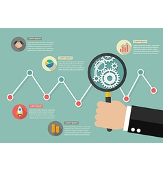 Hand holding magnifying glass with stock market vector