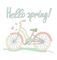 Vintage postcard Hello spring vector image