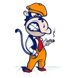 Cartoon monkey smoke and smile vector