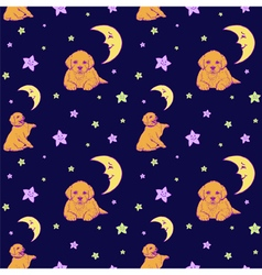 Seamless pattern with dogs stars and demilu vector