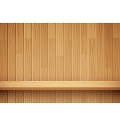 Empty wooden shelf background vector