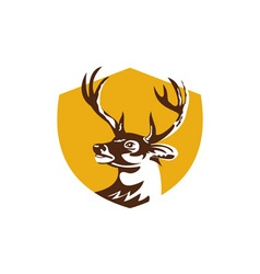 Whitetail deer buck head crest retro vector