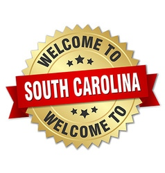 South carolina 3d gold badge with red ribbon vector