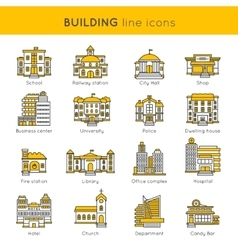 Building line icon set vector