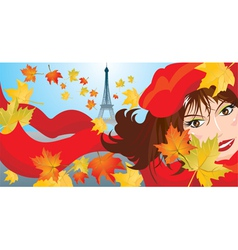 Cute woman face with red scarf and beret vector
