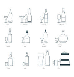 A set of alcoholic drinks in vector