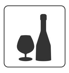Alcohol icon bottle wine sign vector
