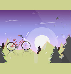 Bicycle on nature background forest modern design vector