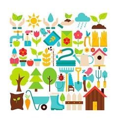 Big Flat Collection of Spring Garden Objects vector image vector image