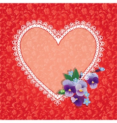 Card with Heart shape is made of lace doily and pa vector image vector image