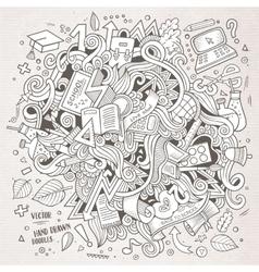 Cartoon doodles hand drawn School vector image