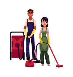 Cleaning service workers man woman in overalls vector