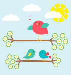 cute birds on springtime branches vector image