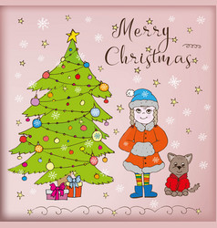 doodle card merry christmas vector image vector image
