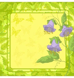 Flowers frame butterfly and leaves vector image vector image