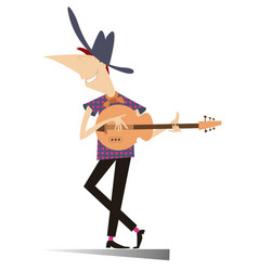 Funny young man playing guitar isolated vector